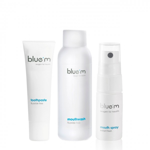 blue®m Reise-Kit (Zahncreme 15ml, Mundspray 15ml & Mundspülung 50ml)