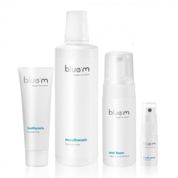 blue®m Mundpflege-Set (Zahncreme fluoridfrei 75ml, Mundspülung 500ml, Mundschaum 100ml & Mundspray 1