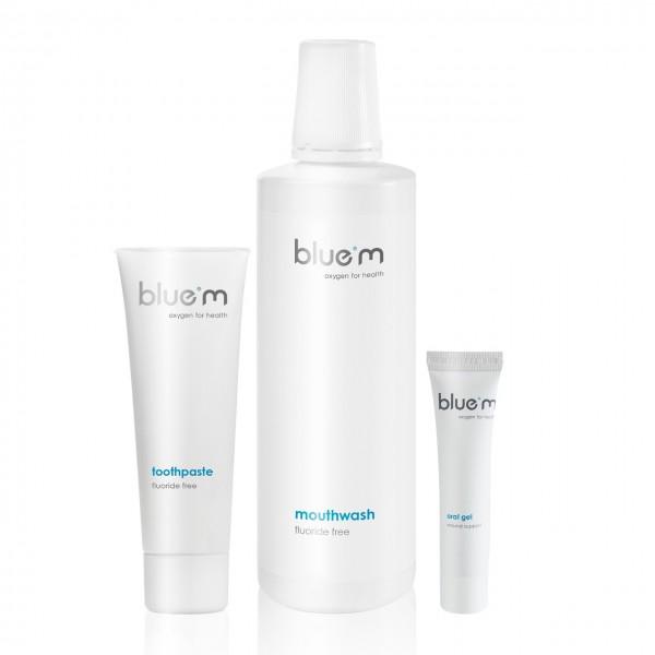 blue®m 3er-Set (Zahncreme fluoridfrei 75ml, Mundspülung 500ml & Mundgel 15ml)