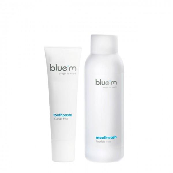 blue®m Probier-Set (Zahncreme 15ml & Mundspülung 50ml)